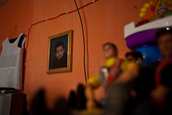 26 April 2009,  Mexico City, Mexico---  A photograph of 5 year old Oscar Perez, one of the 80 residents of Mexico city who have died from the Swine Flu. --- Image by © Trevor Snapp