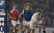 England's George Perkins (Saracens) scores a try during the Under 20s Six Nations Championship match between England and France at the American Express Community Stadium, Brighton and Hove, England on 20 March 2015. Photo by Phil Duncan.