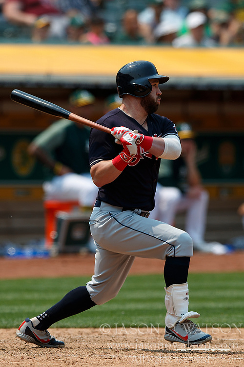 OAKLAND, CA - JULY 01: Jason Kipnis #22 of the Cleveland Indians at bat against the Oakland Athletics during the sixth inning at the Oakland Coliseum on July 1, 2018 in Oakland, California. The Cleveland Indians defeated the Oakland Athletics 15-3. (Photo by Jason O. Watson/Getty Images) *** Local Caption *** Jason Kipnis