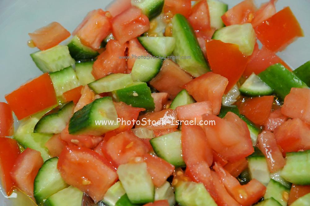 Israeli Salad Tomato Cucumber and parsley