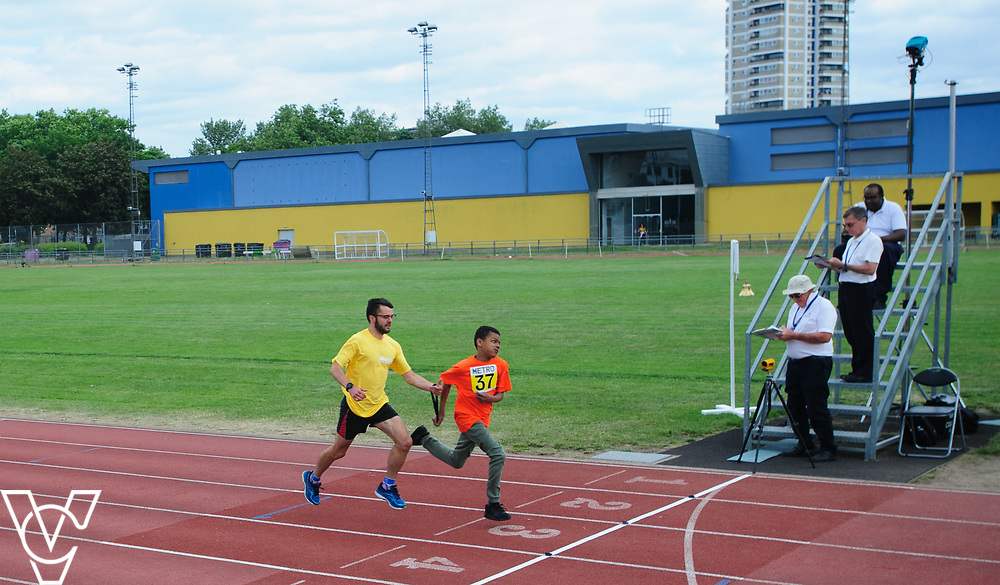 Event: 60 meters<br /> Competitors, from left: Ridwaan Hirse and Rico Amediku<br /> <br /> Metro Blind Sport's 42nd Athletics Open, held at Mile End Stadium, Tower Hamlets, London.<br /> <br /> Picture: Chris Vaughan Photography for Metro Blind Sports<br /> Date: June 16, 2018