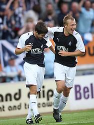 Falkirk cele Ryan Flynn with Scott Arfireld scoring goal.<br /> Falkirk 1 v 0 FC Vaduz, Europa League Qualifying.<br /> ©2009 Michael Schofield. All Rights Reserved.