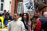 London, UK. Thursday 16th August 2012. Supporters of Julian Assange from Colombia outside the Ecuador Embassy as they await information as to whether he will be granted political asylum of be extradited from the UK.