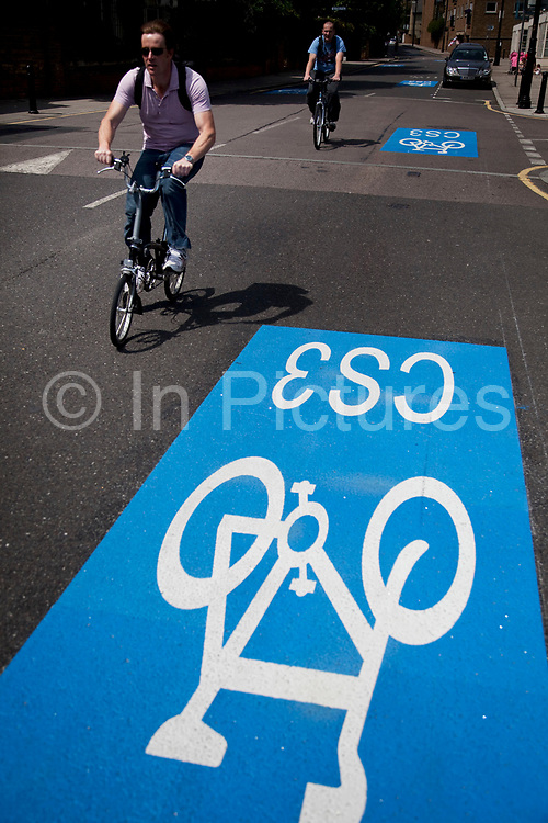 Barclays Cycle Superhighways are safe, fast, direct routes from outer London into central London. Here the CS3 route at Limehouse is one of the first two routes which opened on 19th July 2010, with 10 more in construction or planning. Cycling in London is becoming increasingly popular and the Cycle Superhighway will make it far safer for cyclists on London's busy streets.