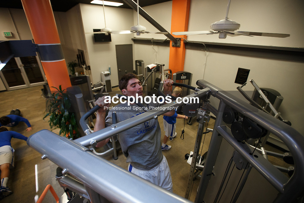 2014 May 25: Seamus Connelly #12 of the Duke Blue Devils works out at the team hotel in Baltimore, MD.