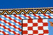 Detail of roof tiles, Crkva sveti Marka (Church of Saint Mark), Zagreb, Croatia