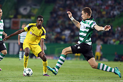 October 18, 2016 - Lisbon, Portugal - Sporting's defender Sebastian Coates (R ) fights for the ball with Dortmund's forward Ousmane Dembele during the UEFA Champions League Group F football match Sporting CP vs Borussia Dortmund at the Alvalade stadium in Lisbon, Portugal on October 18, 2016. Photo: Pedro Fiuza (Credit Image: © Pedro Fiuza via ZUMA Wire)