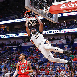 Oct 3, 2017; New Orleans, LA, USA; New Orleans Pelicans forward Anthony Davis (23) dunks against Chicago Bulls guard Denzel Valentine (45) during the second half of a NBA preseason game at the Smoothie King Center. The Bulls defeated the Pelicans 113-109. Mandatory Credit: Derick E. Hingle-USA TODAY Sports