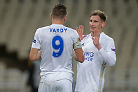 ATHENS, GREECE - OCTOBER 29: Jamie Vardyof Leicester City and Marc Albrightonof Leicester City celebrate the first goal of their team during the UEFA Europa League Group G stage match between AEK Athens and Leicester City at Athens Olympic Stadium on October 29, 2020 in Athens, Greece. (Photo by MB Media)