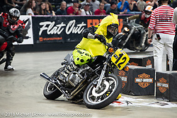 Flat Out Friday flat track racing on the Dr. Pepper-covered track in the UW-Milwaukee Panther Arena got wacky with the Goofball/Inappropriate Class during the Harley-Davidson 115th Anniversary Celebration event. Milwaukee, WI. USA. Friday August 31, 2018. Photography ©2018 Michael Lichter.