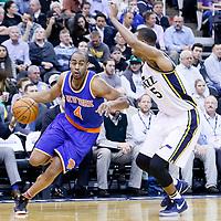 09 December 2015: New York Knicks guard Arron Afflalo (4) drives past Utah Jazz guard Rodney Hood (5) during the Utah Jazz 106-85 victory over the New York Knicks, at the Vivint Smart Home Arena, Salt Lake City, Utah, USA.
