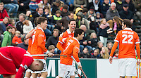 BLOEMENDAAL - HOCKEY - Vreugde bij Thomas van Doorn, Wouter Jolie (m) tijdens de EHL (Euro Hockey League) wedstrijd  KO 16 tussen de mannen van Bloemendaal en Het Poolse KS Pomorzanin Torun (14-2). Koen Suyk