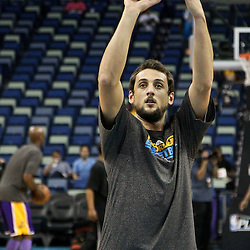 April 24, 2011; New Orleans, LA, USA; New Orleans Hornets shooting guard Marco Belinelli (8) prior to tip of game four of the first round of the 2011 NBA playoffs against the Los Angeles Lakers at the New Orleans Arena.    Mandatory Credit: Derick E. Hingle