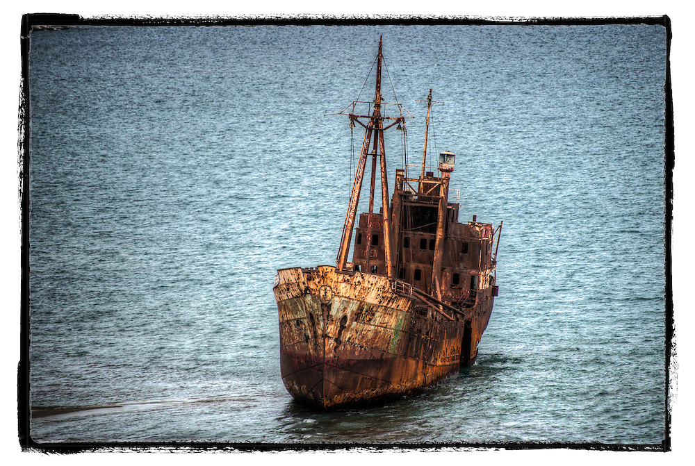 Rusting beeched ship