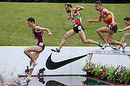 Zak Seddon, Tom Wade and Rob Mullett competing in the Men's 3000m Steeplechase Final race. The British Championships 2016, athletics event at the Alexander Stadium in Birmingham, Midlands  on Saturday 25th June 2016.<br /> pic by John Patrick Fletcher, Andrew Orchard sports photography.