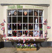 Fresh Bite bakery decorated in bunting and pictures of Royal family, Southwold, Suffolk, England