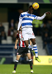 Queens Park Rangers' Idrissa Sylla going up for ball during the game during the Sky Bet Championship match at Loftus Road, London.