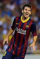 VALENCIA, SPAIN - SEPTEMBER 01:  Lionel Messi of Barcelona celebrates after scoring his third goal during the La Liga match between Valencia CF and FC Barcelona at Estadio Mestalla on September 1, 2013 in Valencia, Spain.  (Photo by Manuel Queimadelos Alonso/Getty Images) *** Local Caption *** Lionel Messi