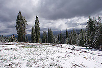 Young man downhill mountain biking at Tahoe area resort.