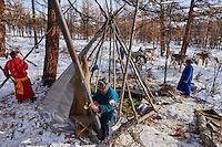 Mongolie, province de Khovsgol, les Tsaatans, éleveurs des rennes, campement en hiver des Tsaatan, faille de Ganbat se préparant pour une transhumance // Mongolia, Khovsgol province, the Tsaatan, reindeer herder, the winter camp, Ganbat's family is preparing the winter transhumance