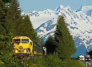 Alaska Railroad running alongside the Seward Highway on the Kenai Peninsula. Alaska