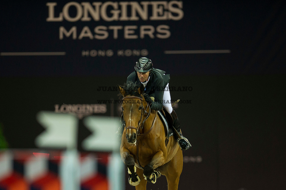 Patrice Delaveau on Ornella Mail HDC competes during Massimo Dutti Trophy  at the Longines Masters of Hong Kong on 21 February 2016 at the Asia World Expo in Hong Kong, China. Photo by Juan Manuel Serrano / Power Sport Images