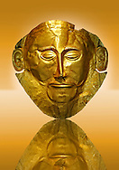 """Gold Death Mask Known as the """"mask of Agamemnon""""  from Grave V, Grave Circle A, Mycenae. The mask is made of a thin sheet of beaten gold & shows a man with a beard. 16th century BC Cat No 624 Athens Archaeological Museum. .<br /> <br /> If you prefer to buy from our ALAMY PHOTO LIBRARY  Collection visit : https://www.alamy.com/portfolio/paul-williams-funkystock/mycenaean-art-artefacts.html . Type -   Athens    - into the LOWER SEARCH WITHIN GALLERY box. Refine search by adding background colour, place, museum etc<br /> <br /> Visit our MYCENAEN ART PHOTO COLLECTIONS for more photos to download  as wall art prints https://funkystock.photoshelter.com/gallery-collection/Pictures-Images-of-Ancient-Mycenaean-Art-Artefacts-Archaeology-Sites/C0000xRC5WLQcbhQ"""