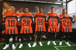 July 17, 2018 - Kiev, Ukraine - (L-R) JUNIOR MORAES, CIPRIANO, FERNANDO, ALEXEI SHEVCHENKO and MAICON hold up a Shakhtar Donetsk shirts during a press conference as part of his official presentation in Kiev, Ukraine, on 17 July 2018. (Credit Image: © Serg Glovny via ZUMA Wire)