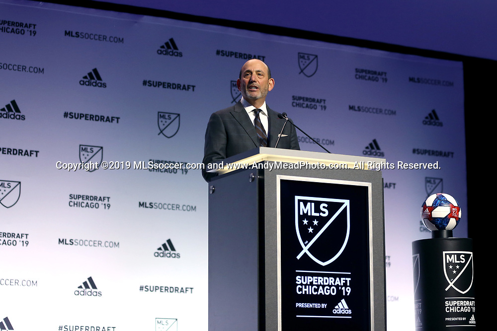CHICAGO, IL - JANUARY 11: MLS Commissioner Don Garber. The MLS SuperDraft 2019 presented by adidas was held on January 11, 2019 at McCormick Place in Chicago, IL.