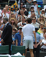 Tennis - 2021 All England Championship - Week One - Day Four (Thursday) - Wimbledon<br /> Alex Bolt v Cameron Norrie<br /> <br /> Cameron Norrie of GBR throws his towel into the crowd after winning the match<br /> <br /> CreditCOLORSPORT/Andrew Cowie