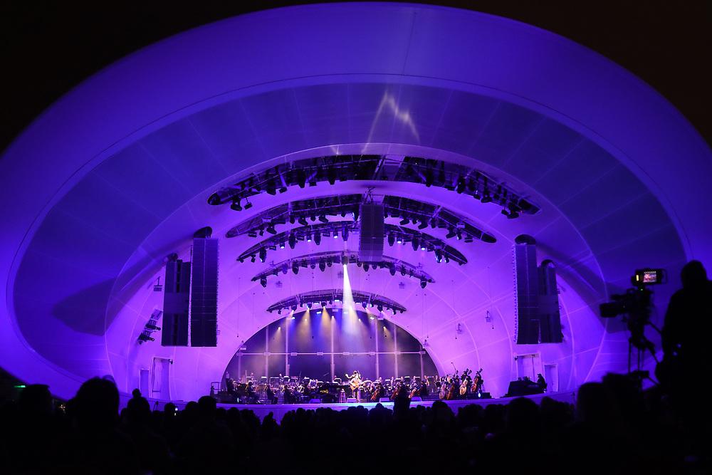 Jason Mraz performs with the San Diego Symphony at the Rady Shell on Sunday, September 26, 2020.(Photo by Sandy Huffaker)