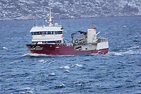 Færøy - a Fish Carrier between Ørnes and Bodø Norway. Image taken from the M/V Kong Harald on Day 3 of the Northbound Hurtigruten Voyage. Image taken with a Nikon D2xs and 80-400 mm VR lens (ISO 400, 400 mm, f/5.6, 1/125 sec)..