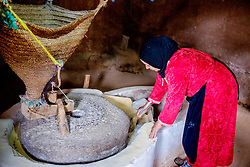 A Berber woman grinding corn to produce flour with a water driven stone in the Ourika Valley, Morocco, North Africa<br /> <br /> (c) Andrew Wilson | Edinburgh Elite media