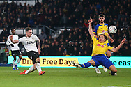 Derby County forward Jack Marriott (14) has a shot at goal in injury time during the The FA Cup 3rd round match between Derby County and Southampton at the Pride Park, Derby, England on 5 January 2019.