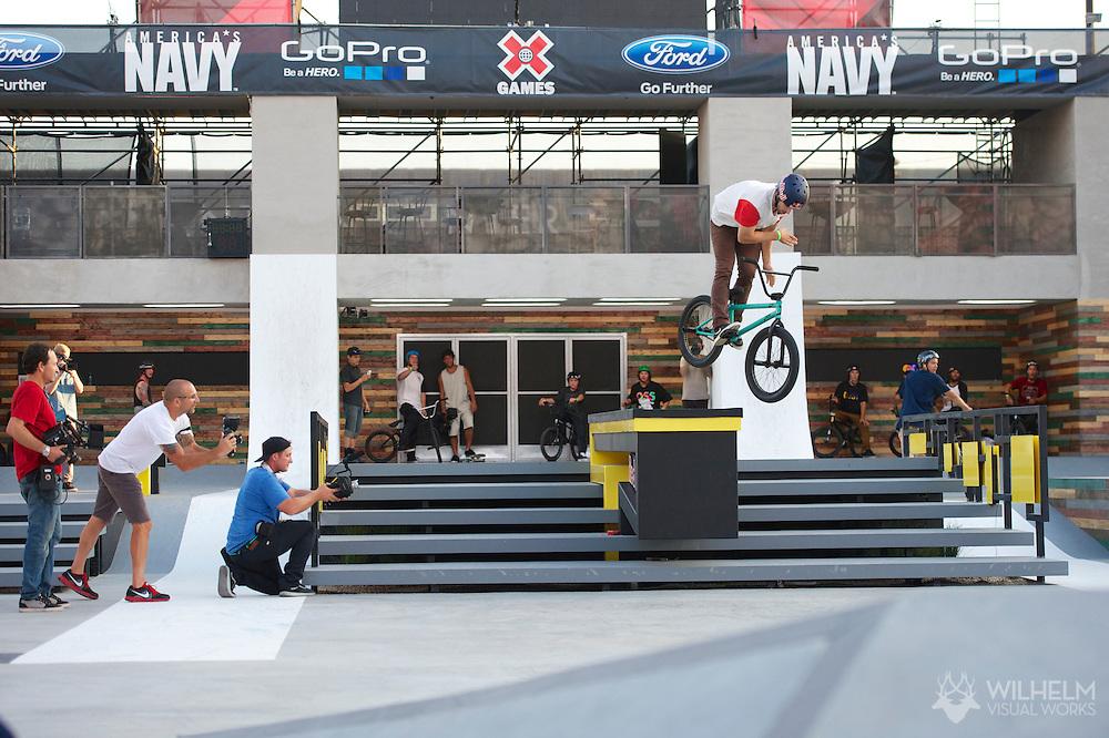 Garrett Reynolds during BMX Street Practice at the 2013 X Games Los Angeles in Los Angeles, CA. ©Brett Wilhelm/ESPN
