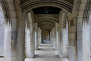 Arched walkway of the Fourth Presbyterian Church located in the Gold Coast neighborhood of downtown Chicago, Illinois