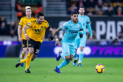 February 11, 2019 - Wolverhampton, England, United Kingdom - DeAndre Yedlin of Newcastle United on the ball with \w28 closing him down  during the Premier League match between Wolverhampton Wanderers and Newcastle United at Molineux, Wolverhampton on Monday 11th February 2019. (Credit Image: © Mi News/NurPhoto via ZUMA Press)
