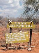 Eselenkei Conservation Area sign, near Amboseli National Park, Rift Valley Province, Kenya