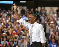 October 28, 2016 - Orlando, FL, USA - President Obama on stage during a rally for Democratic presidential nominee Hillary Clinton at the University of Central Florida on Friday, Oct. 28, 2016, in Orlando, Fla. (Credit Image: © Joe Burbank/TNS via ZUMA Wire)