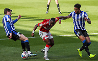 Middlesbrough's Neeskens Kebano battles with Sheffield Wednesday's André Green and Adam Reach<br /> <br /> Photographer Alex Dodd/CameraSport<br /> <br /> The EFL Sky Bet Championship - Middlesbrough v Sheffield Wednesday - Saturday 24th April 2021 - Riverside Stadium - Middlesbrough<br /> <br /> World Copyright © 2021 CameraSport. All rights reserved. 43 Linden Ave. Countesthorpe. Leicester. England. LE8 5PG - Tel: +44 (0) 116 277 4147 - admin@camerasport.com - www.camerasport.com