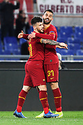 Carles Perez of Roma (L)  celebrates with Leonardo Spinazzola (R) after scoring 1-0 goal during during the UEFA Europa League match between AS Roma and KAA Gent at Stadio Olimpico,Thursday, Feb. 20, 2020, in Rome, Italy. (Federico Proietti/Image of Sport)