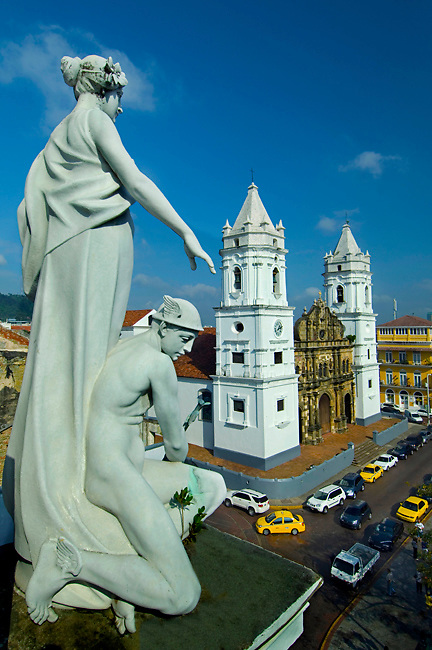 Statues on the roof of the Municipal Palace overlook the Metropolitan Cathedral and Cathedral Plaza in Casco Viejo, the neighborhood in Panama City that UNESCO declared a World Heritage Site in 2003 because of its abundance of colonial architecture.