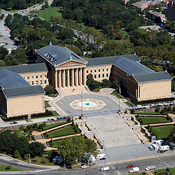 Aerial view of the philadelphia museum of art