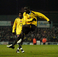 Photo: Jed Wee.<br /> Doncaster Rovers v Arsenal. Carling Cup. 21/12/2005.<br /> <br /> Arsenal's Quincy Owusu-Abeyie scores their equaliser via a deflected shot.