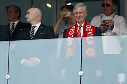 (L-R) FIFA president Gianni Infantino, King Philippe of Belgium during the 2018 FIFA World Cup Russia group G match between Belgium and Tunisia at the Otkrytiye Arena  on June 23, 2018 in Moscow, Russia