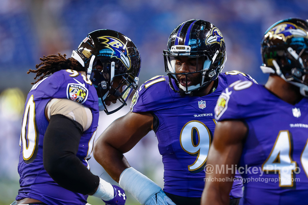 INDIANAPOLIS, IN - AUGUST 20: Matt Judon #91 of the Baltimore Ravens is seen before the game against the Indianapolis Colts at Lucas Oil Stadium on August 20, 2016 in Indianapolis, Indiana.  (Photo by Michael Hickey/Getty Images) *** Local Caption *** Matt Judon
