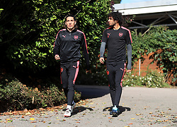 Arsenal's Hector Bellerin (left) and Mohamed Elneny (right) during the training session at London Colney.