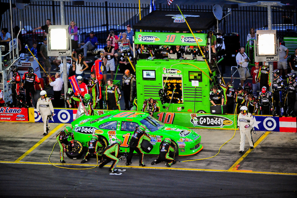 May 24, 2012; Concord, NC USA; NASCAR Sprint Cup Series driver Danica Patrick (10) pits during the Coca-Cola 600 at Charlotte Motor Speedway. Photo by Kevin Liles/kevindliles.com