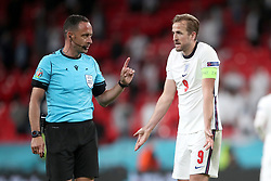 England's Harry Kane appeals to Referee Artur Manuel Soares Dias after a goal was ruled out during the UEFA Euro 2020 Group D match at Wembley Stadium, London. Picture date: Tuesday June 22, 2021.