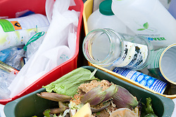 Rubbish in a special triple pedal household recycling bin,